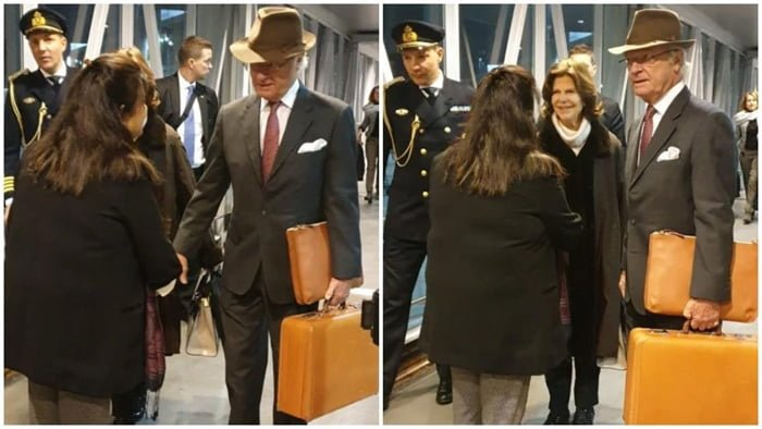 Sweden king and queen carried their own bags